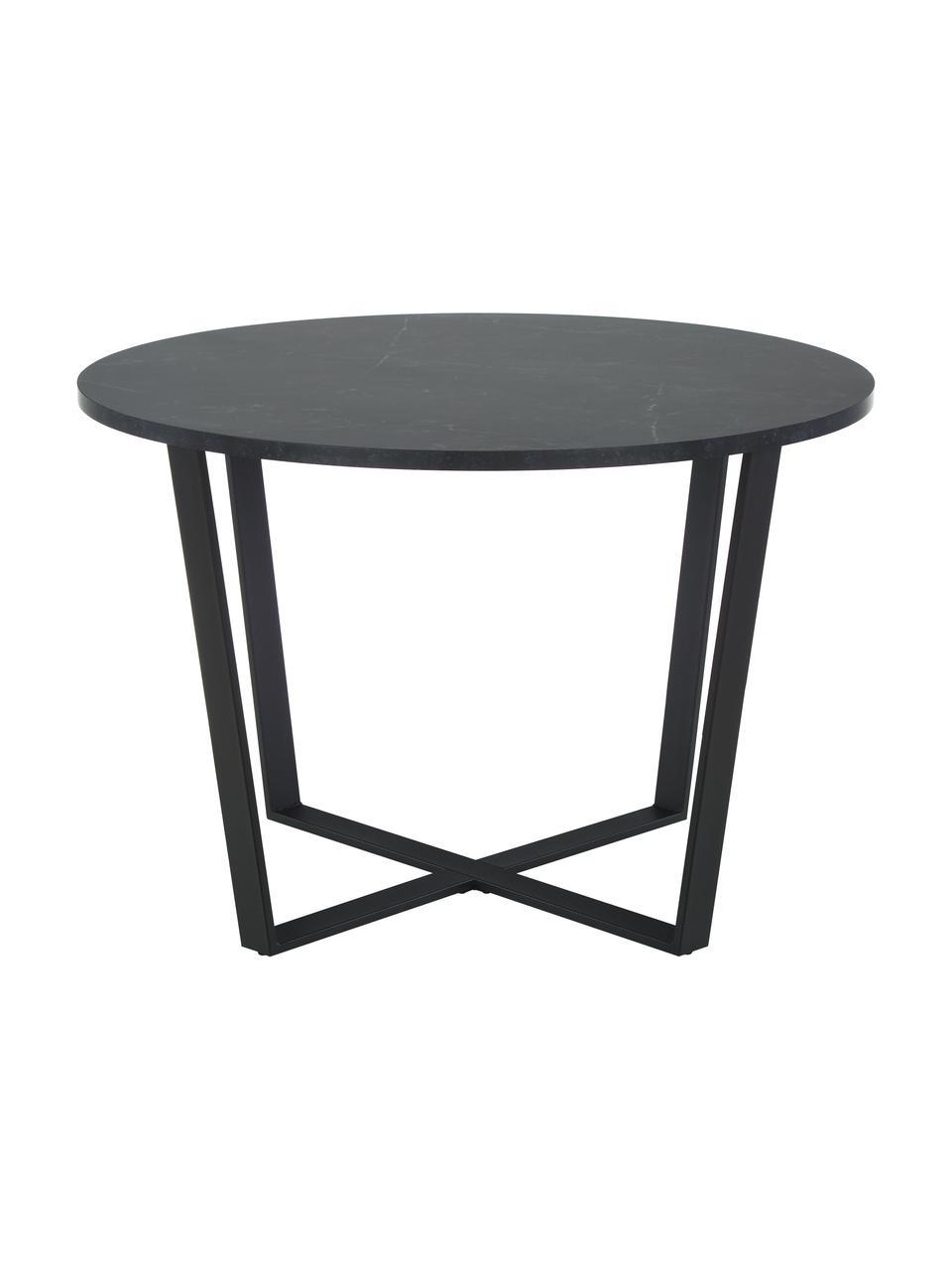 Okrągły stół do jadalni z imitującym marmur Amble, Blat: płyta pilśniowa średniej , Czarny, Ø 110 x W 75 cm