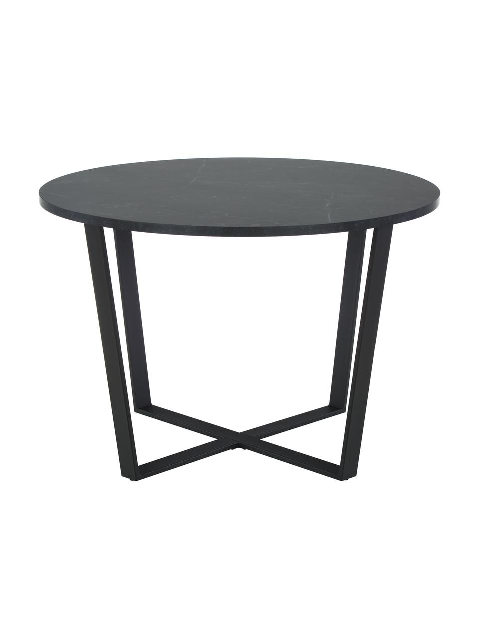 Tavolo da pranzo rotondo con piano d'appoggio Amble, Piano d'appoggio: pannelli di fibra a media, Gambe: metallo, verniciato a pol, Nero, Ø 110 x Alt. 75 cm