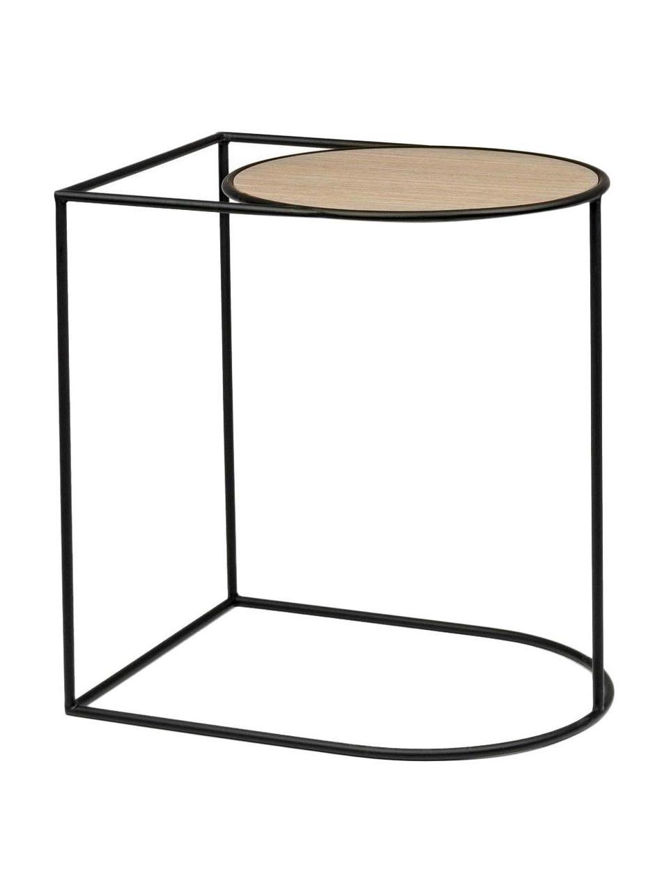 Tavolino Everitt, Marrone chiaro, nero, Larg. 45 x Prof. 35 cm