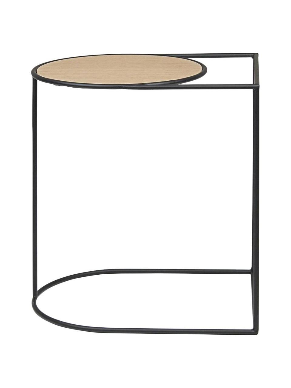 Stolik pomocniczy Everitt, Blat: płyta pilśniowa średniej , Stelaż: stal malowana proszkowo, Jasny brązowy, czarny, S 45 x G 35 cm