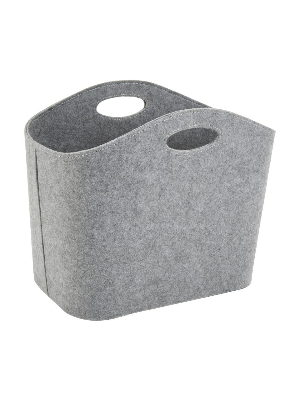 Cesto in feltro Mascha, Feltro in materiale sintetico riciclato, Grigio, Lung. 45 x Larg. 30 cm