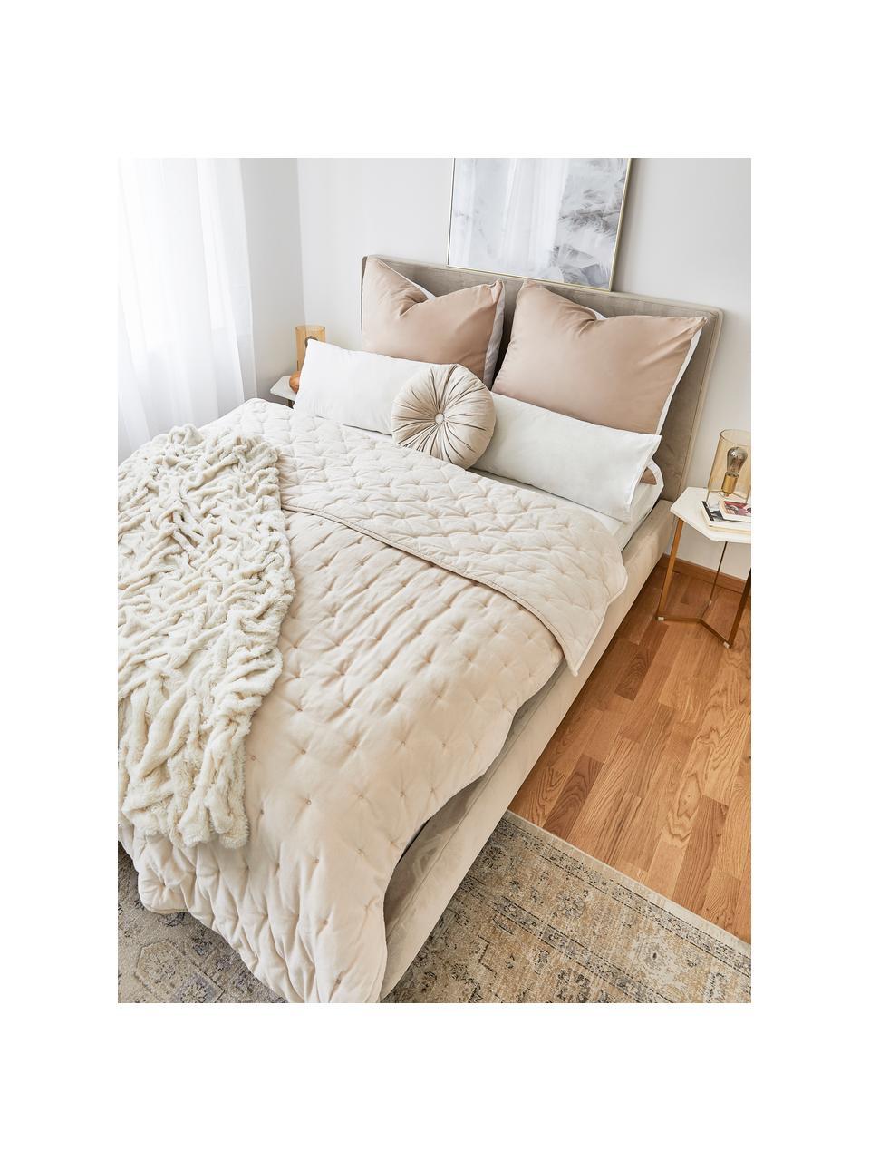 Couvre-lit ouaté en velours avec matelassage décoratif Cheryl, Champagne