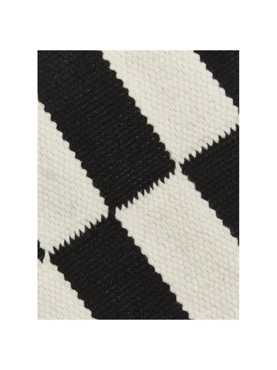 Handgewebter Kelim-Läufer Donna mit Streifen, Flor: 80% Wolle, 20% Nylon, Schwarz, 80 x 250 cm