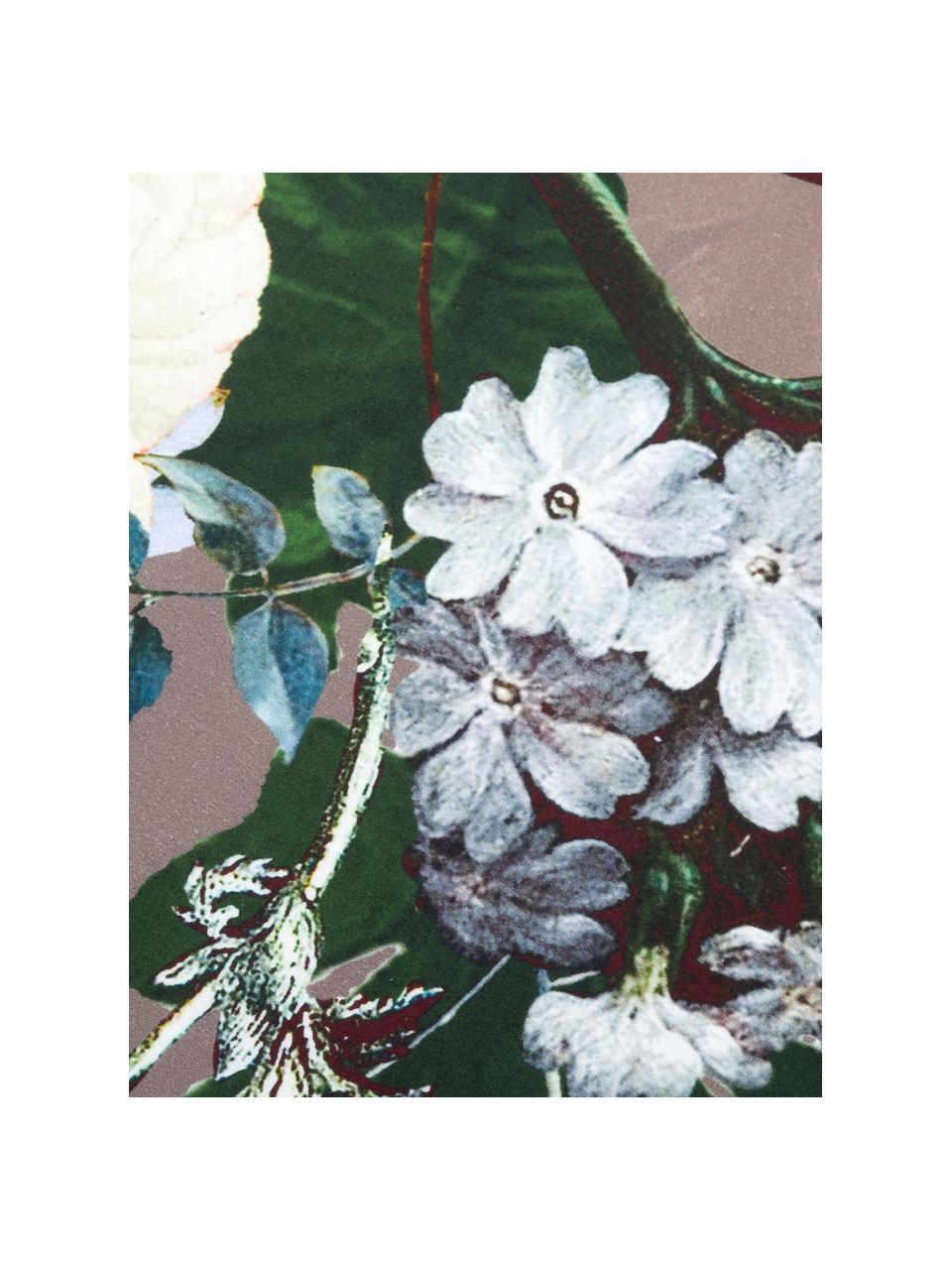 Dwustronna pościel z satyny bawełnianej  Fleur, Taupe, wielobarwny (biały, zielony, żółty), 135 x 200 cm + 1 poduszka 80 x 80 cm