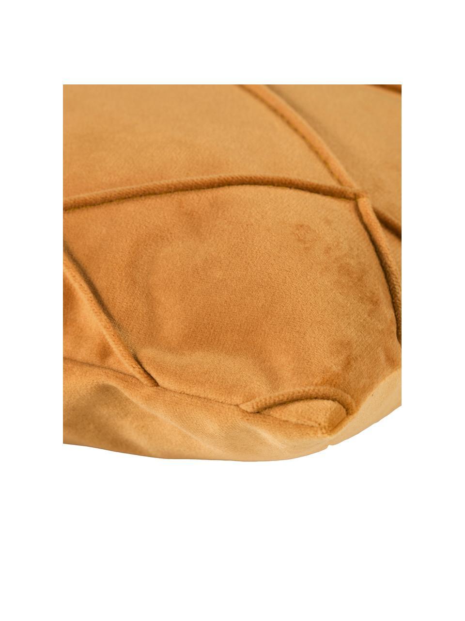 Poszewka na poduszkę z aksamitu Nobless, 100% aksamit poliestrowy, Żółty, S 40 x D 40 cm