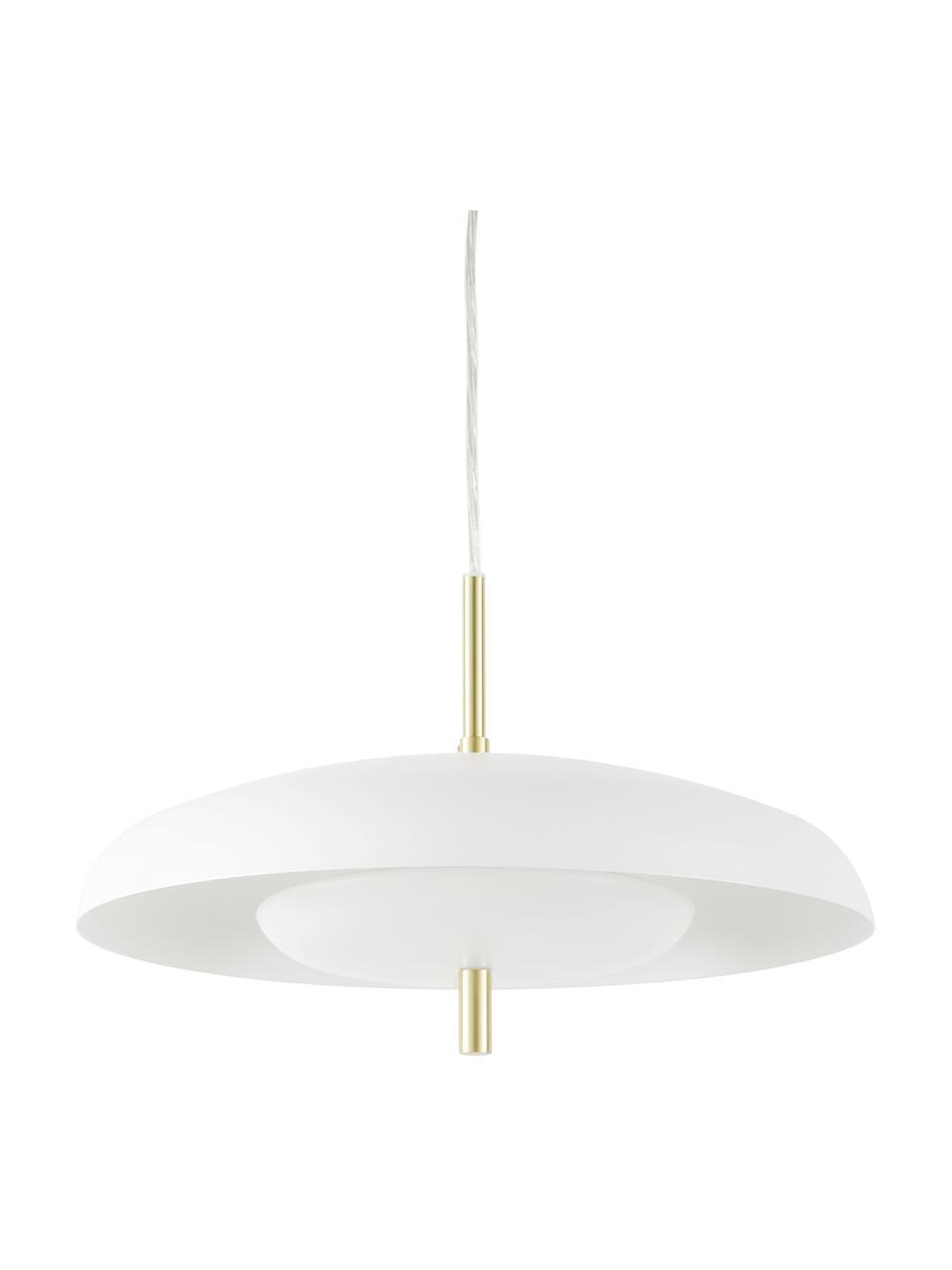 Hanglamp Mathea in wit-goudkleurig, Lampenkap: gepoedercoat metaal, Decoratie: vermessingd metaal, Baldakijn: gepoedercoat metaal, Wit, Ø 38  x H 8 cm