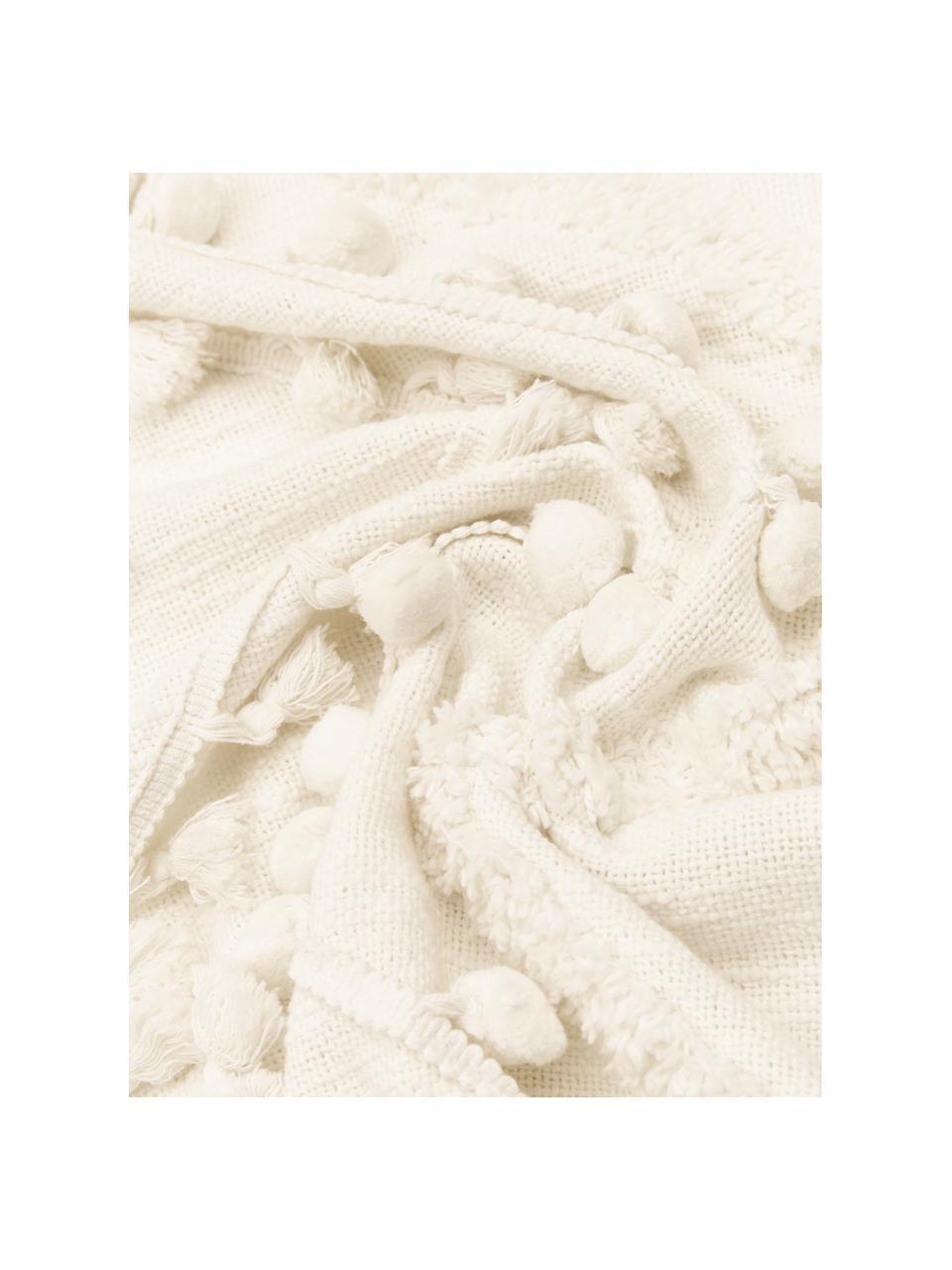 Plaid boho in cotone con nappe e pompon Pana, 100% cotone, Crema, Larg. 130 x Lung. 170 cm