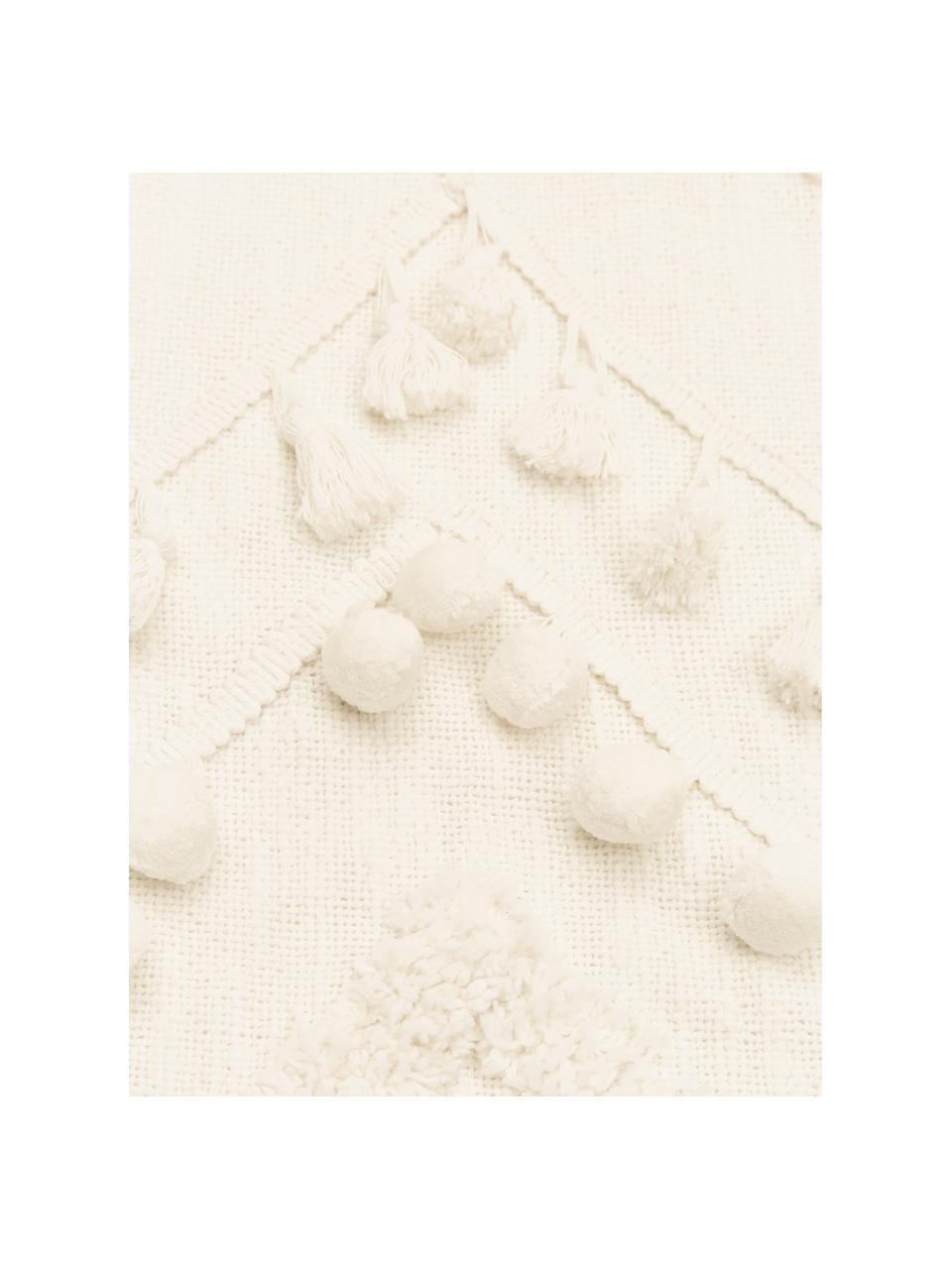 Plaid coton à houppes et pompons Pana, Blanc crème