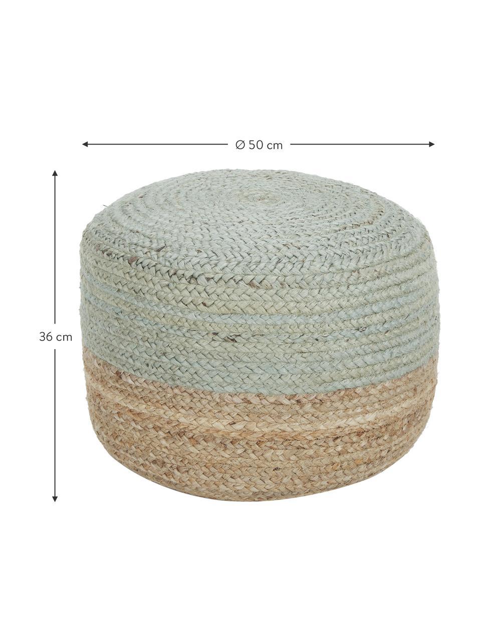 Ręcznie wykonany puf  z juty Bono, Tapicerka: juta, Włókno konopne, miętowozielony, Ø 50 x W 36 cm