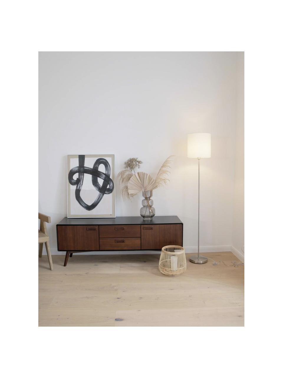 Lampadaire textile Harry, Blanc, couleur argentée