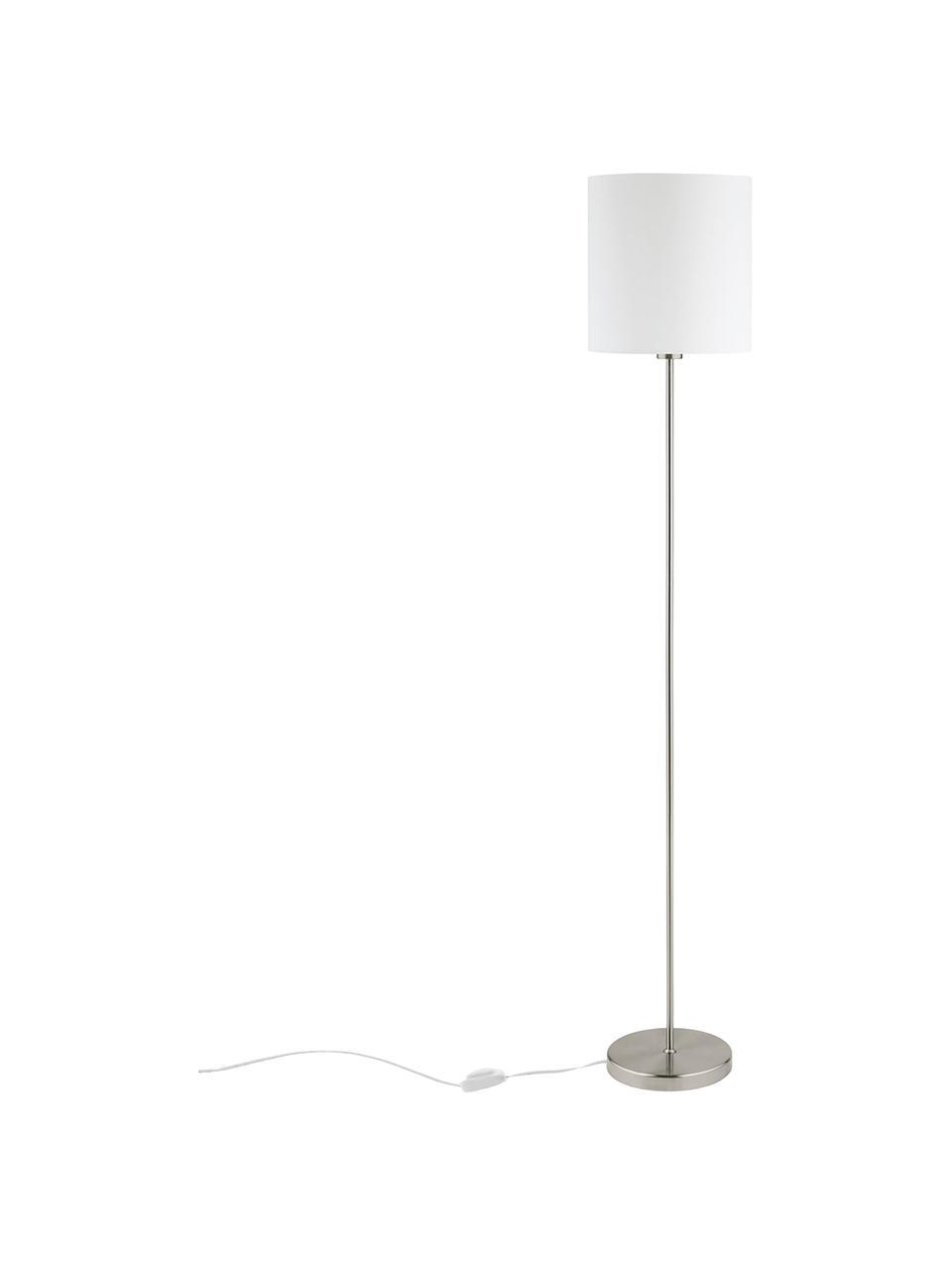 Stehlampe Mick in Weiß-Silber, Lampenschirm: Textil, Lampenfuß: Metall, vernickelt, Weiß,Silberfarben, Ø 28 x H 158 cm