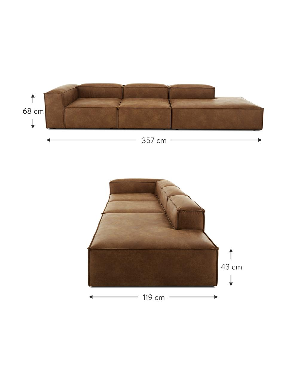 Modulaire XL chaise longue Lennon in bruin van gerecycled leer, Bekleding: gerecycled leer (70% leer, Frame: massief grenenhout, multi, Poten: kunststof De poten bevind, Leer bruin, B 357 x D 119 cm