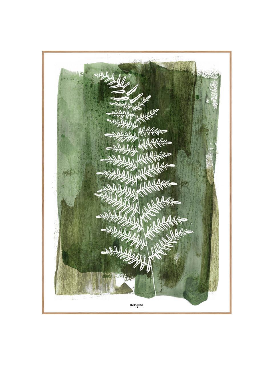 Gerahmter Digitaldruck White Fern, Bild: Digitaldruck auf Papier (, Rahmen: Hochdichte Holzfaserplatt, Grün, Weiß, 30 x 40 cm