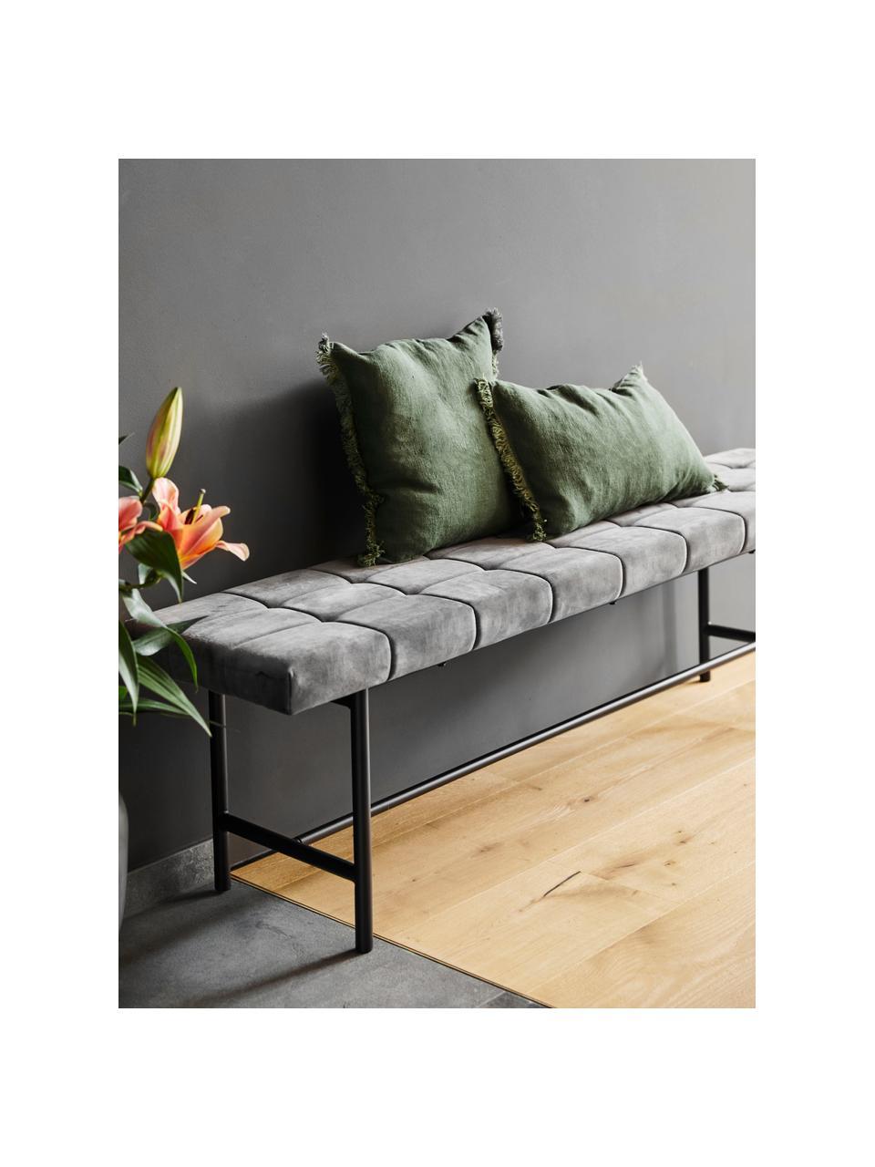 Design Samt-Polsterbank Sigfrid, Bezug: Polyestersamt 25.000 Sche, Beine: Metall, pulverbeschichtet, Dunkelgrau, 160 x 47 cm