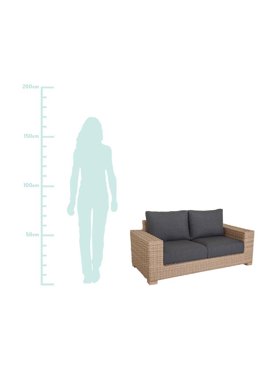 Outdoor bank Saba (2-zits), Frame: polyrotan, UV-bestendig, Poten: massief acaciahout, Frame: aluminium, Bekleding: polyester, UV-bestendig e, Bruin, 180 x 74 cm