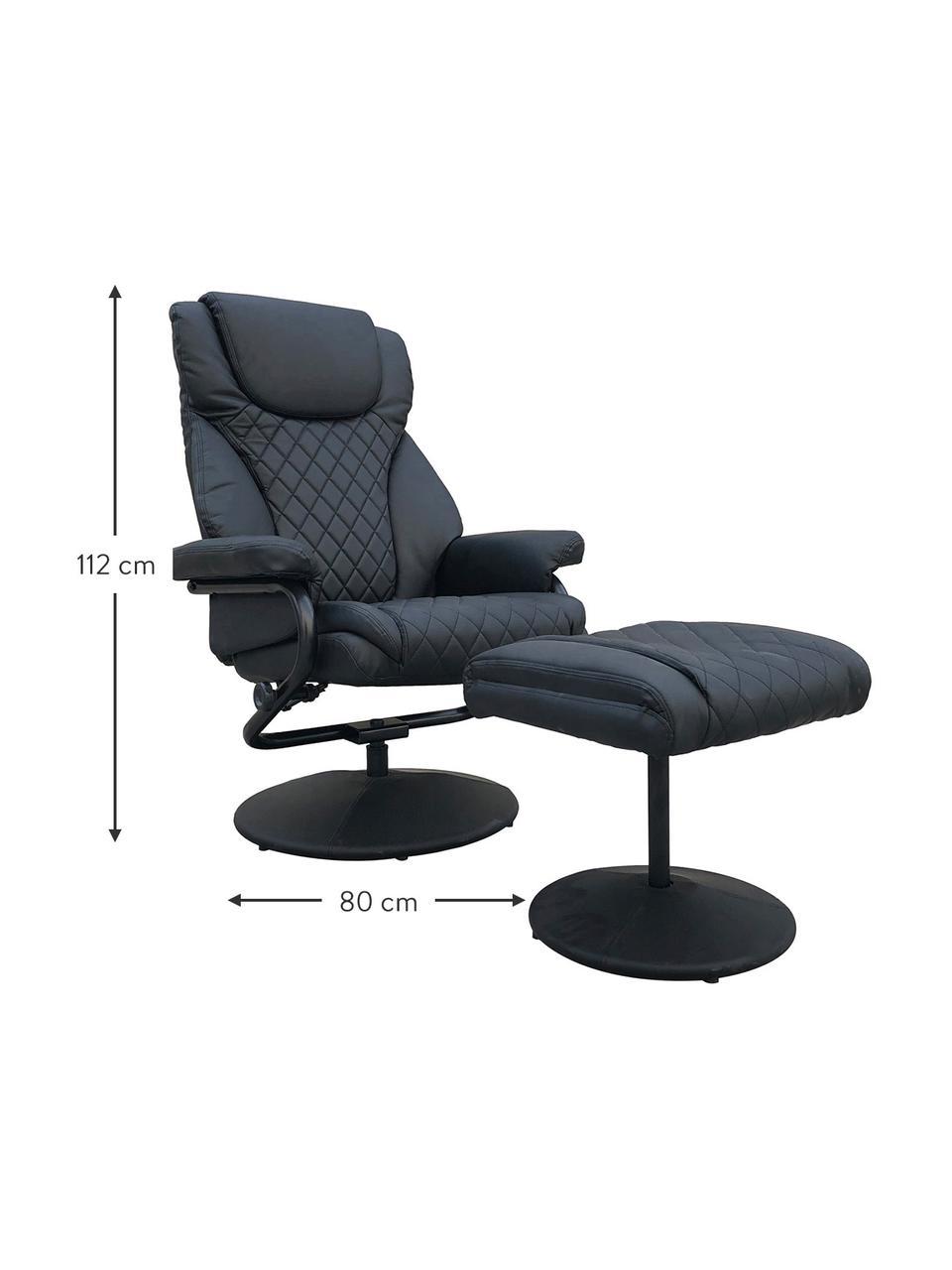 Sillón reclinable con reposapiés Relax, Tapizado: piel sintética, Negro, An 80 x Al 112 cm
