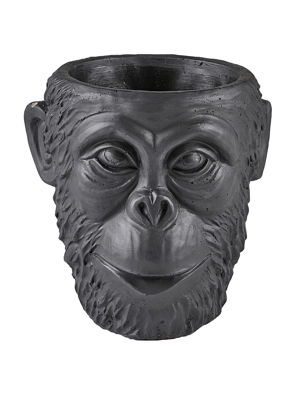 Übertopf Monkey, Beton, Schwarz, Ø 19 x H 19 cm