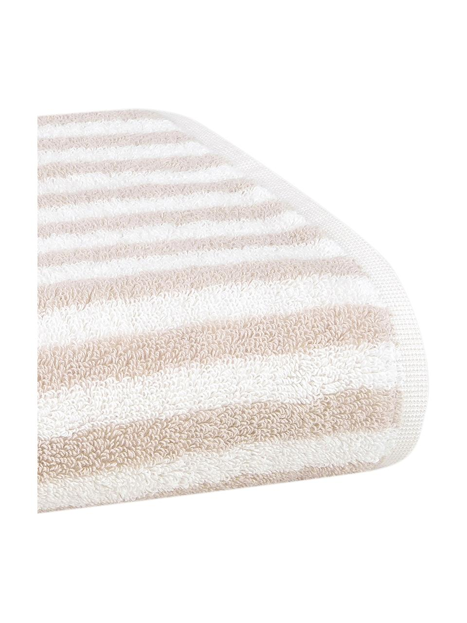 Lot de serviettes de bain à rayures Viola, 3 élém., Couleur sable, blanc crème