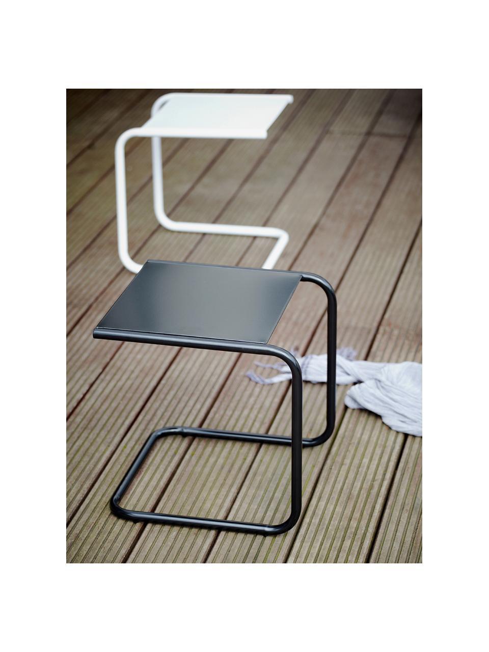 Garten-Beistelltisch Club aus Metall, Tischplatte: Metall, pulverbeschichtet, Gestell: Aluminium, pulverbeschich, Weiß, B 40 x T 40 cm