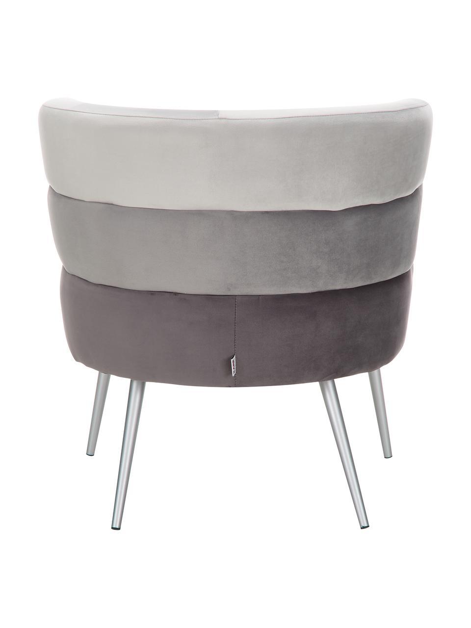 Fluwelen fauteuil Sandwich in retro-design, Bekleding: polyester fluweel, Poten: gecoat metaal, Fluweel grijs, B 65 x D 64 cm