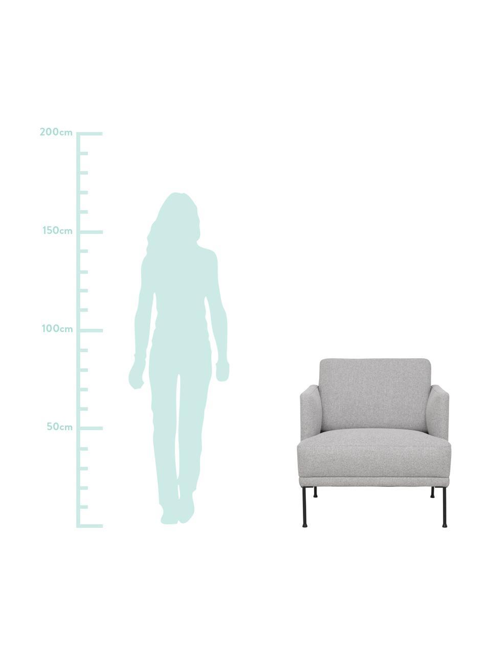 Sessel Fluente in Hellgrau mit Metall-Füßen, Bezug: 80% Polyester, 20% Ramie , Gestell: Massives Kiefernholz, Füße: Metall, pulverbeschichtet, Webstoff Hellgrau, B 74 x T 85 cm