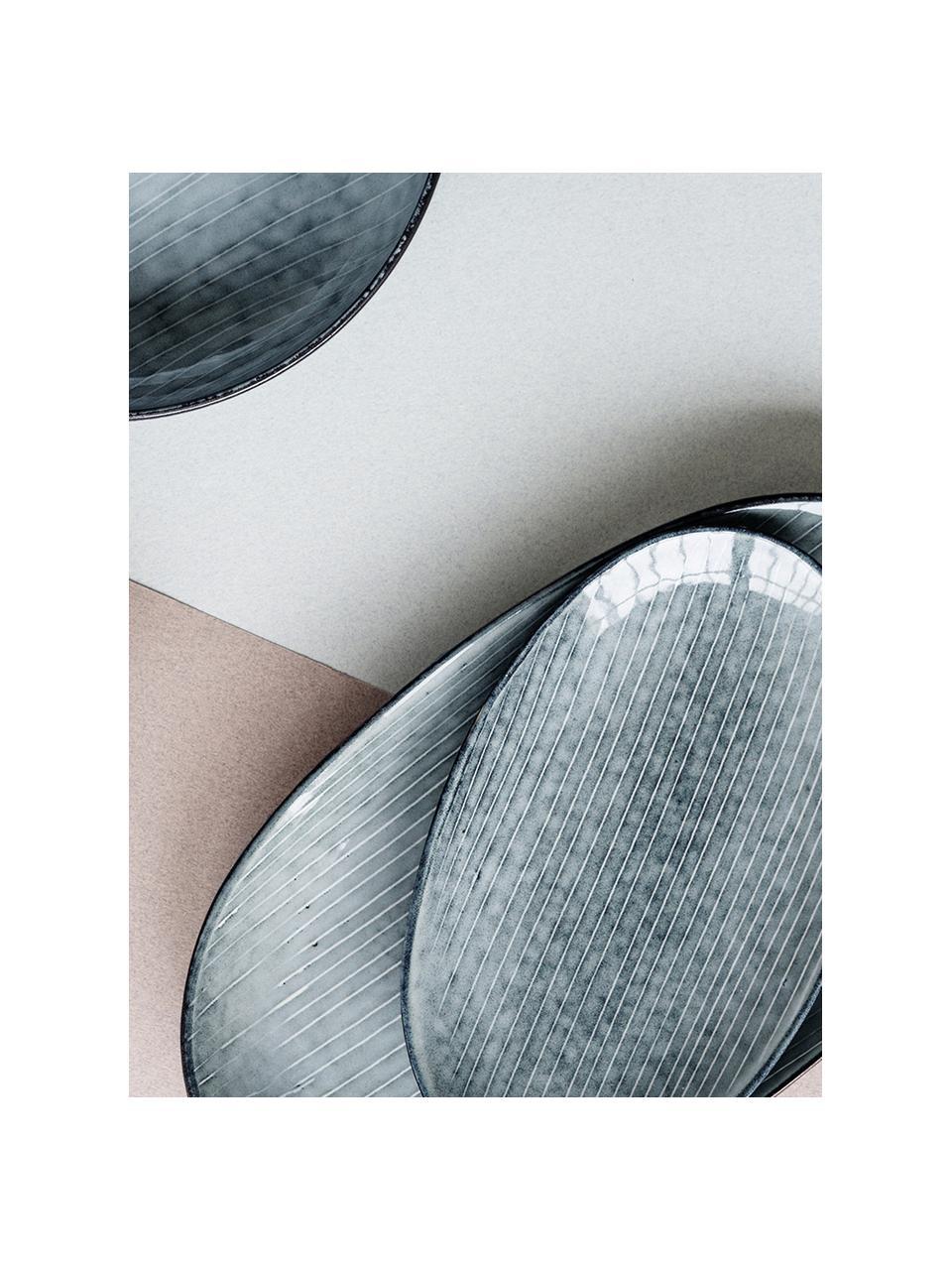 Handgemachte Servierplatte Nordic Sea aus Steingut, L 30 x B 17 cm, Steingut, Grau- und Blautöne, 17 x 30 cm