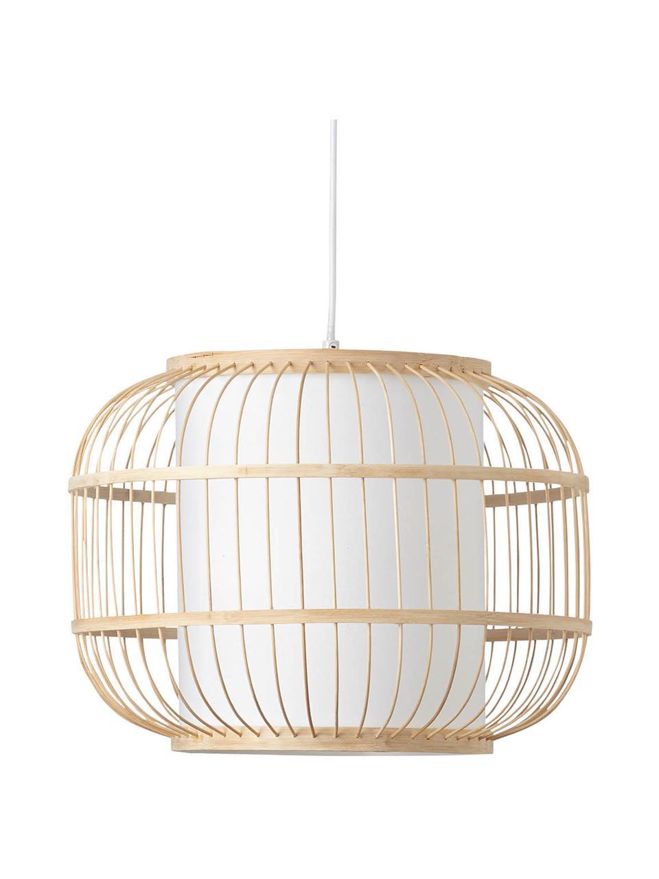 Lampada a sospensione in bambù Bones, Paralume: bambù, Baldacchino: metallo rivestito, Marrone chiaro, bianco, Ø 40 x Alt. 30 cm
