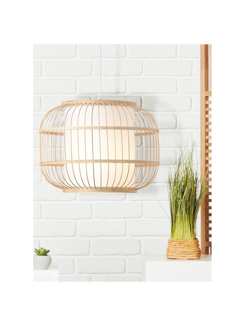 Lampa wisząca z drewna bambusowego Bones, Jasny brązowy, biały, Ø 40 x W 30 cm