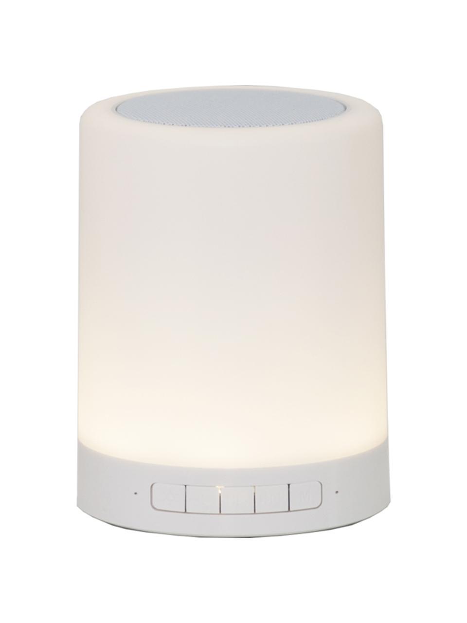 Mobile Dimmbare Außenleuchte Loli mit Lautsprecher und Farbwechsel zum Hängen oder Stellen, Lampenschirm: Kunststoff, Weiß, Ø 9 x H 13 cm