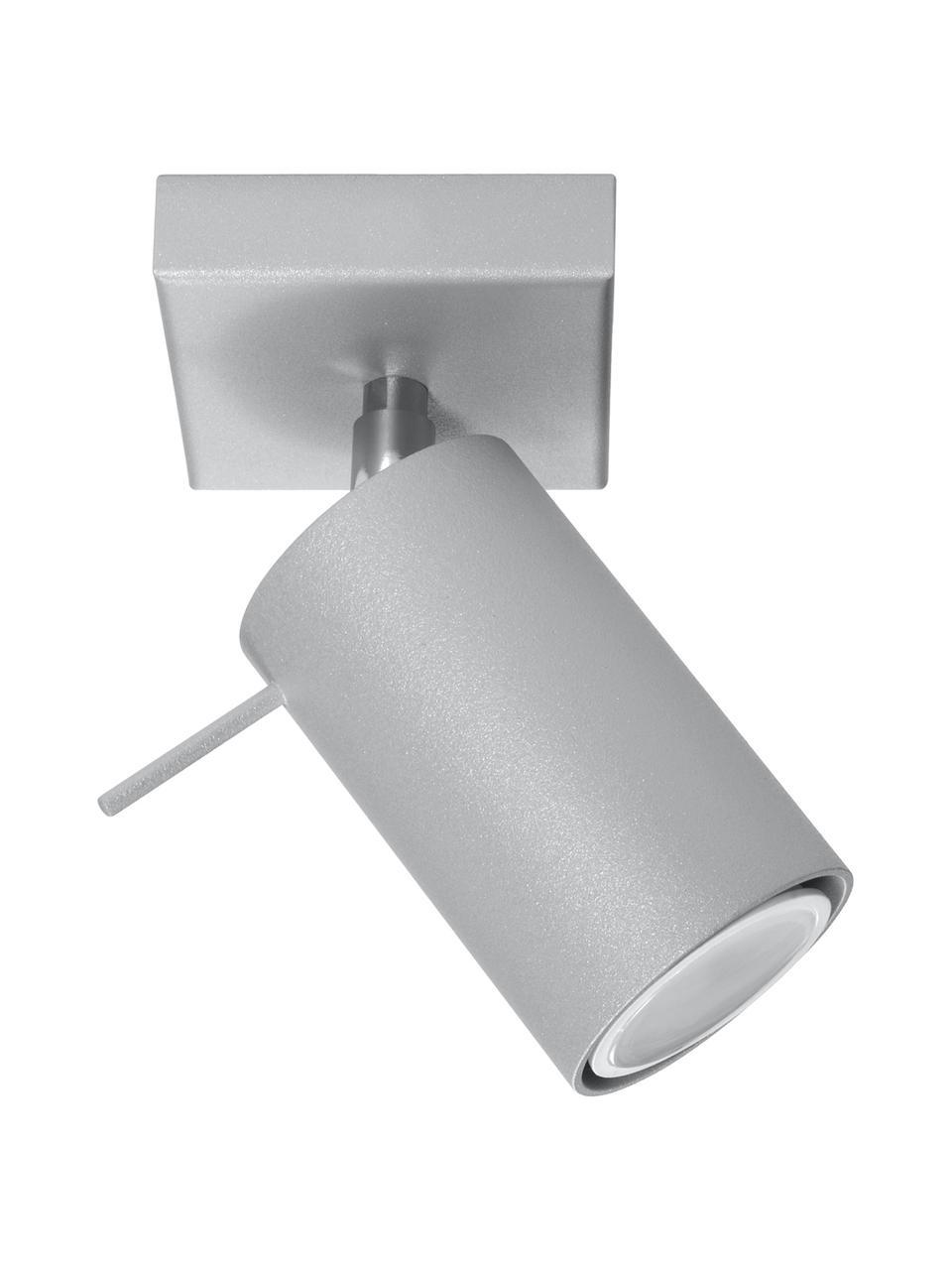Faretto da soffitto grigio Etna, Paralume: acciaio verniciato, Grigio, Larg. 8 x Alt. 15 cm