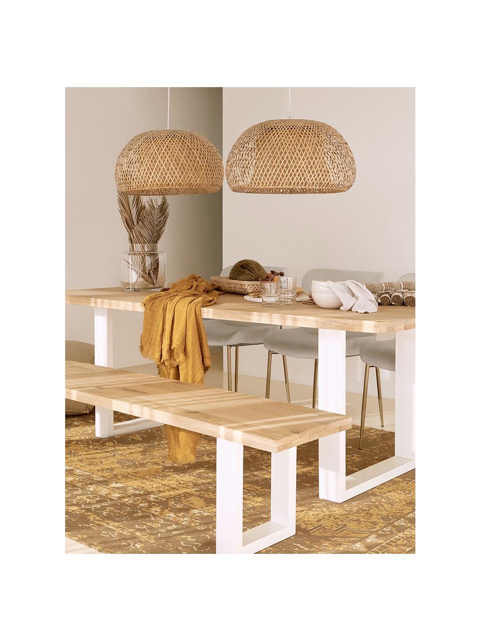 Lampada a sospensione di design in bambù Eden, Paralume: bambù, Baldacchino: metallo, Bambù, Ø 45 x Alt. 21 cm