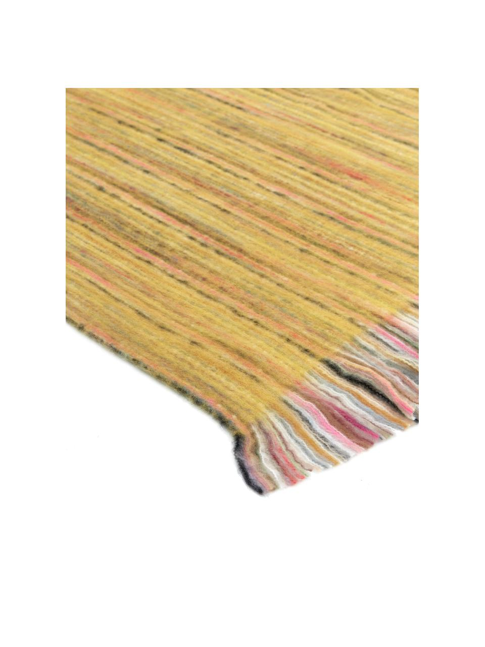 Bunt meliertes Plaid Ayana mit Fransen, 100% Acryl, Gelb, Mehrfarbig, 130 x 190 cm