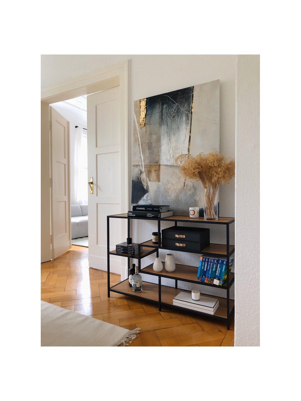 Wandrek Seaford van hout en metaal, Frame: gepoedercoat metaal, Eikenhoutkleurig, zwart, 114 x 78 cm
