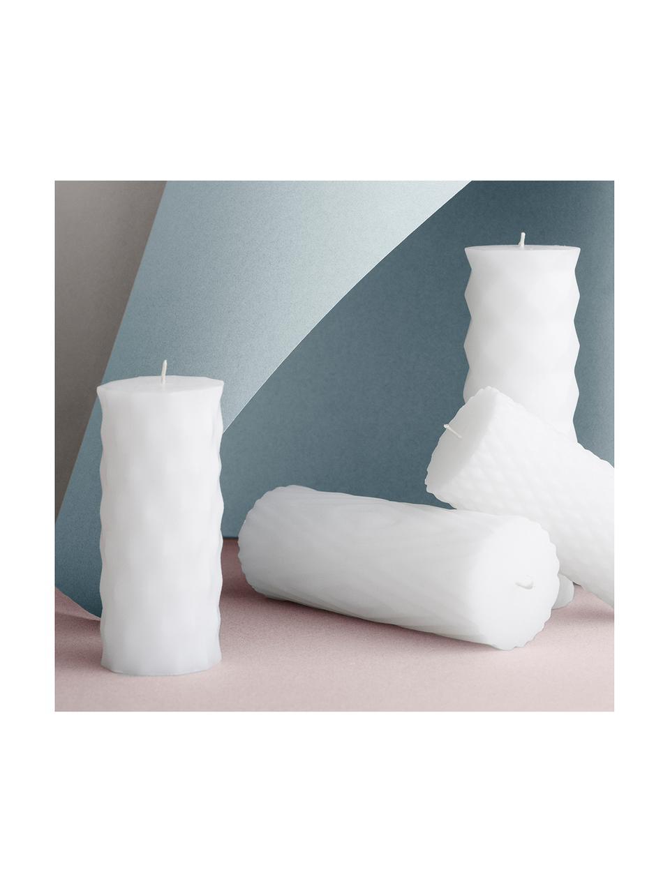 Świeca pieńkowa Mix Rhomb, 6 szt., 95% parafina, 5% wosk sojowy, Biały, Ø 7 x 14 cm