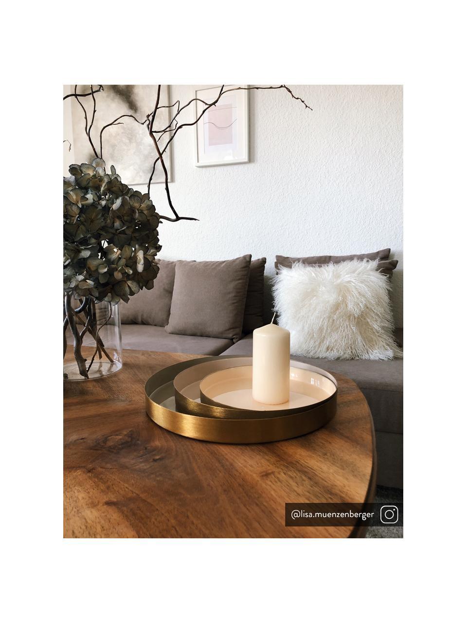 Sada dekorativních táců Ayra, 3díly, Šedá, béžová, bílá Vnější okraj: zlatá