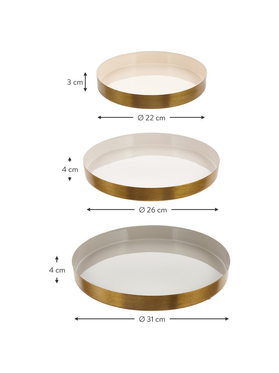 Set 3 vassoi decorativi Ayra, Metallo verniciato, Grigio, beige, bianco Bordo esterno: dorato, Set in varie misure