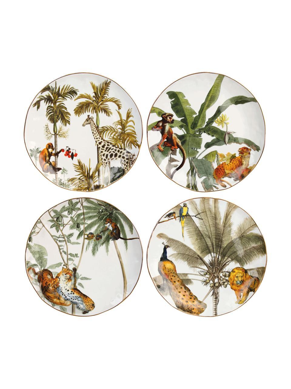 Ontbijtbord Animaux met goudkleurige rand en tropische motieven, 4-delig, Porselein, Multicolour, Ø 20 cm