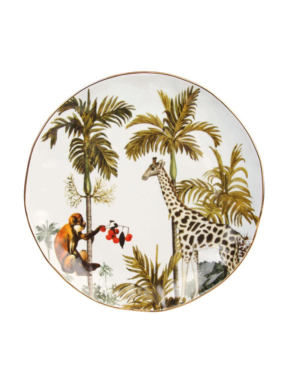 Komplet talerzy śniadaniowych Animaux, 4 elem., Porcelana, Wielobarwny, Ø 20 cm