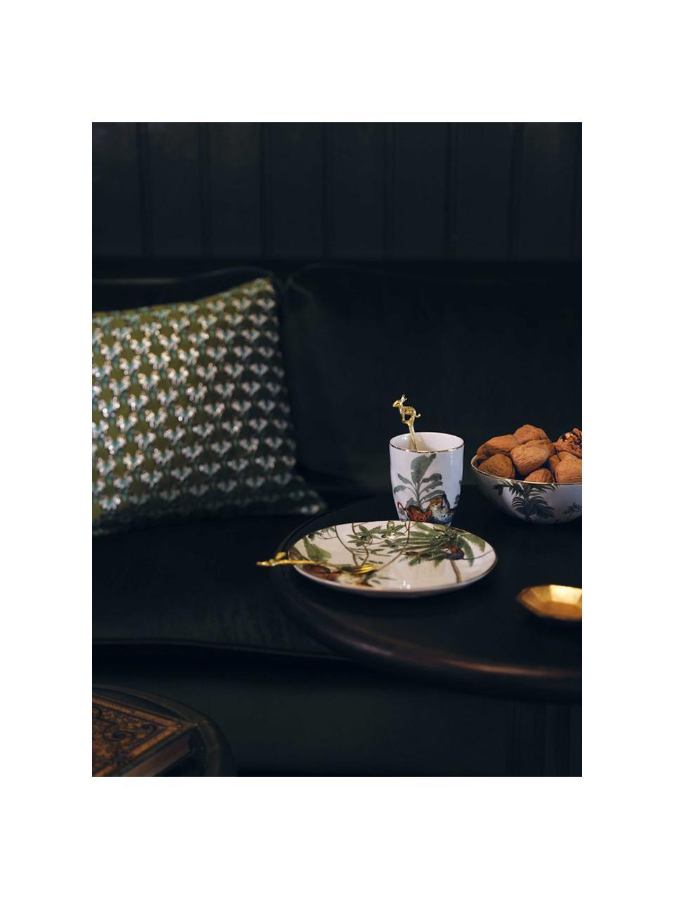 Set 4 piattini da dessert con bordo oro e motivi tropicali Animaux, Porcellana, Multicolore, Ø 20 cm