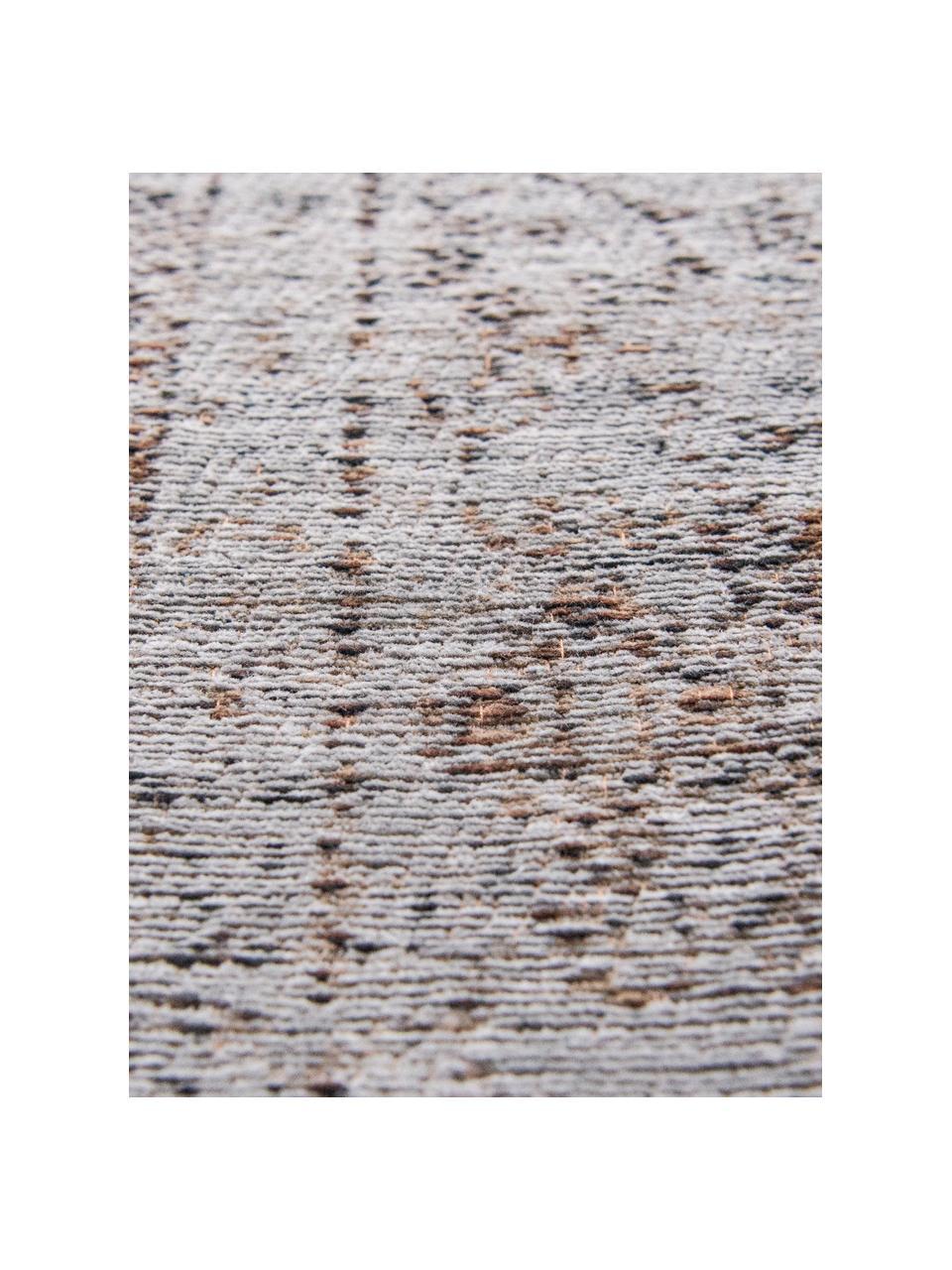 Tappeto vintage in ciniglia Medaillon, Retro: Filato di ciniglia, rives, Grigio, marrone, Larg. 80 x Lung. 150 cm (taglia XS)