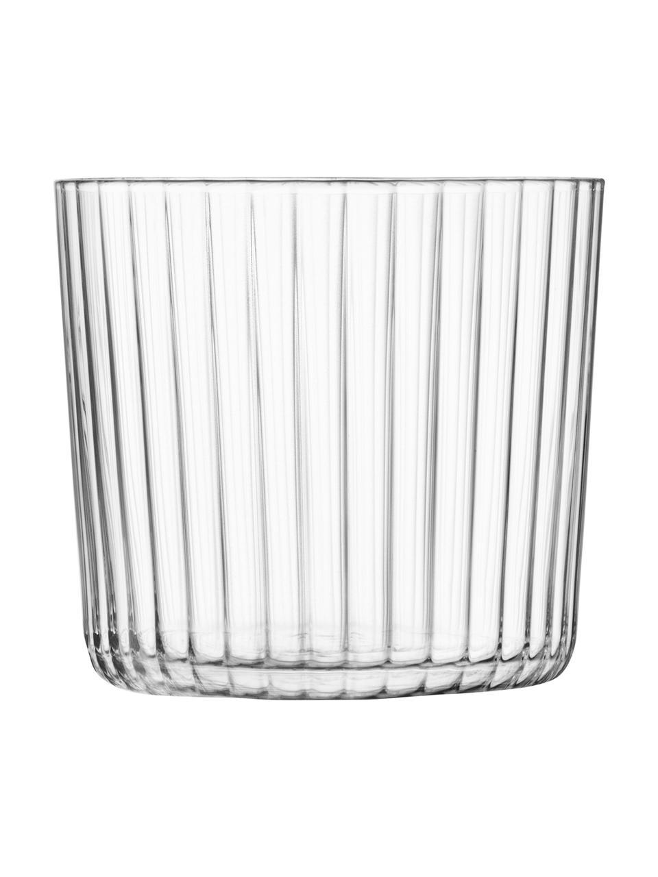 Mundgeblasene Wassergläser Gio mit Rillenstruktur, 4 Stück, Glas, Transparent, Ø 8 x H 7 cm