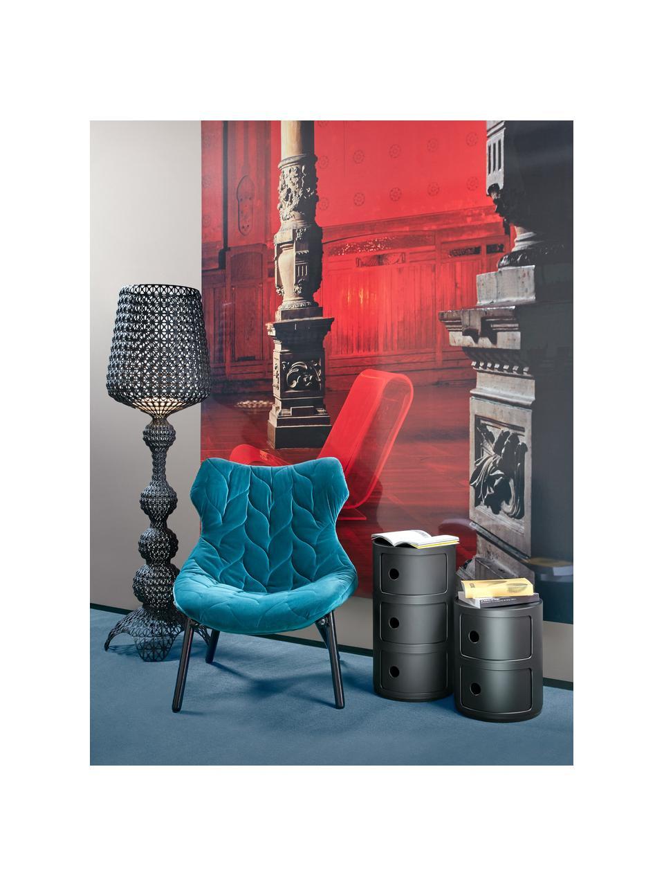 Stolik pomocniczy Componibili Recycled, Termoplastyczny technopolimer z recyklingowych odpadów przemysłowych, Czarny, matowy, Ø 32 x W 59 cm
