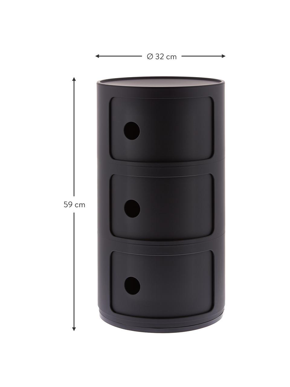 Contenitore di design a 3 cassetti Componibili, Materiale sintetico (ABS), verniciato, Nero opaco, Ø 32 x Alt. 59 cm