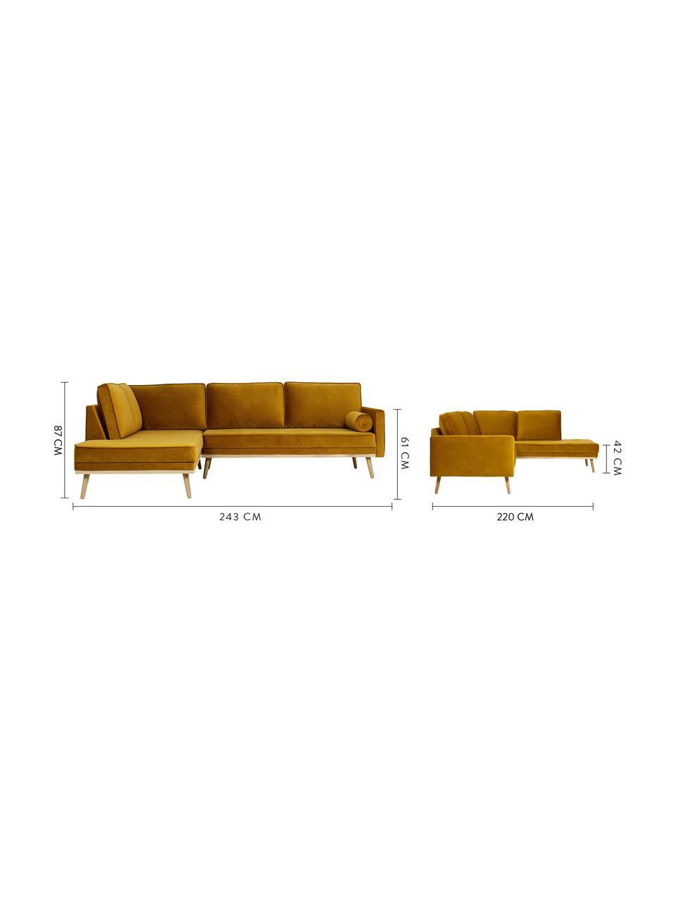 Sofa narożna z aksamitu z nogami z drewna dębowego Saint (3-osobowa), Tapicerka: aksamit (poliester) Dzięk, Aksamitny musztardowy, S 243 x G 220 cm