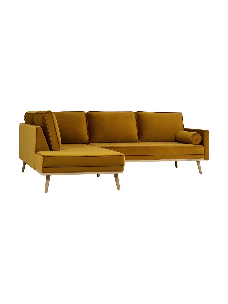 Canapé d'angle 3places velours jaune moutarde Saint, Velours jaune moutarde