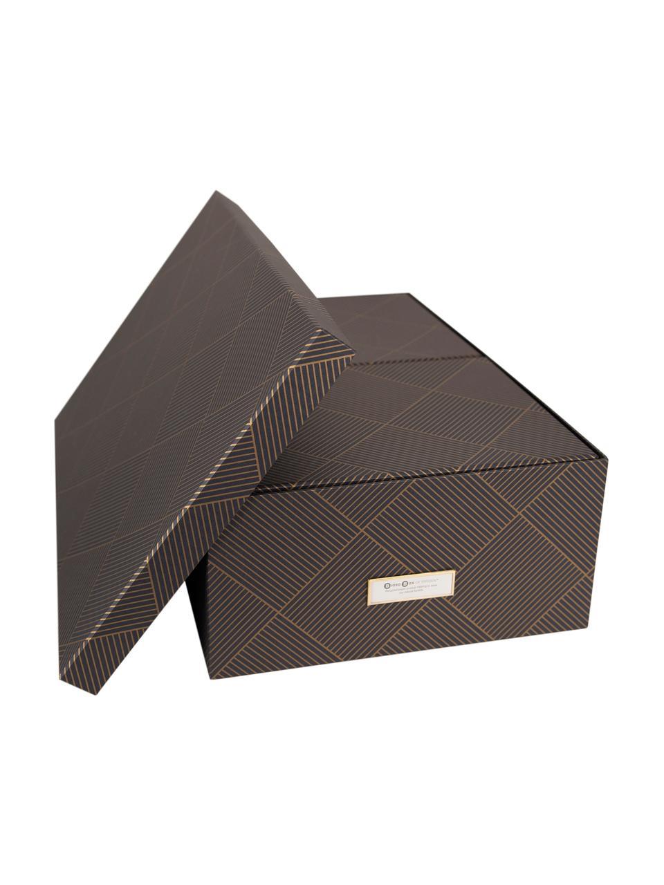 Set 3 scatole Inge, Scatola: solido, cartone laminato, Dorato, grigio scuro, Set in varie misure