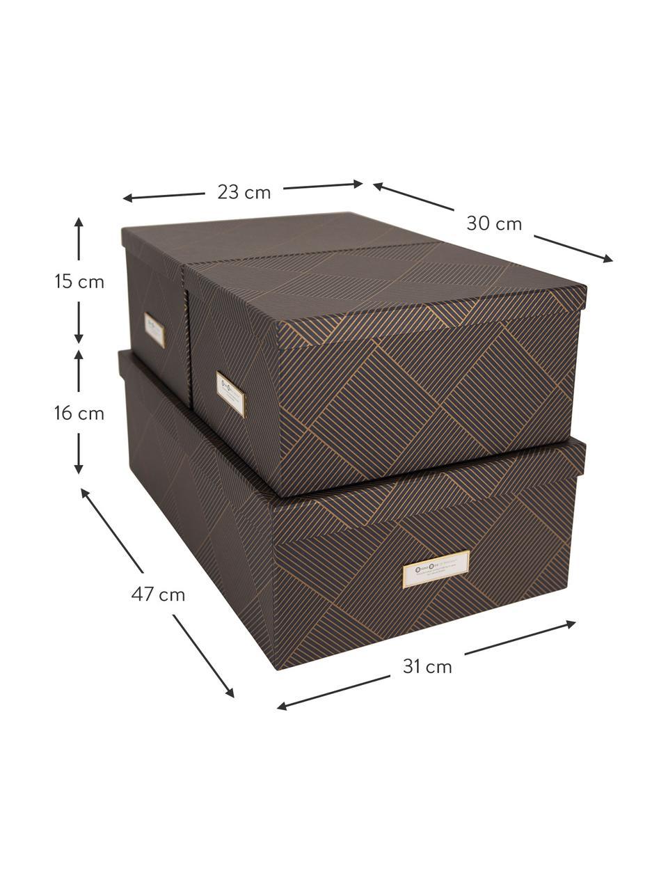 Aufbewahrungsboxen-Set Inge, 3-tlg., Box: Fester, laminierter Karto, Goldfarben, Dunkelgrau, Sondergrößen