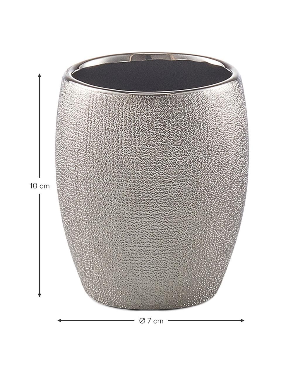 Zahnputzbecher Glitter aus Steingut, Steingut, Silbergrau, Ø 7 x H 10 cm