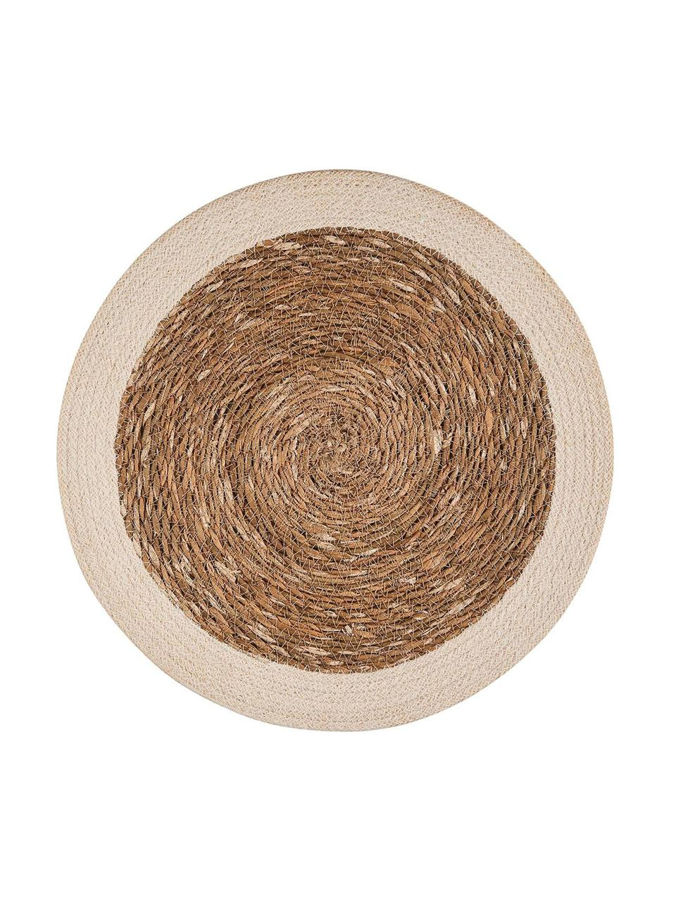 Tovaglietta americana rotonda Sauvage 2 pz, Alghe, iuta, Beige, bianco, Ø 38 cm