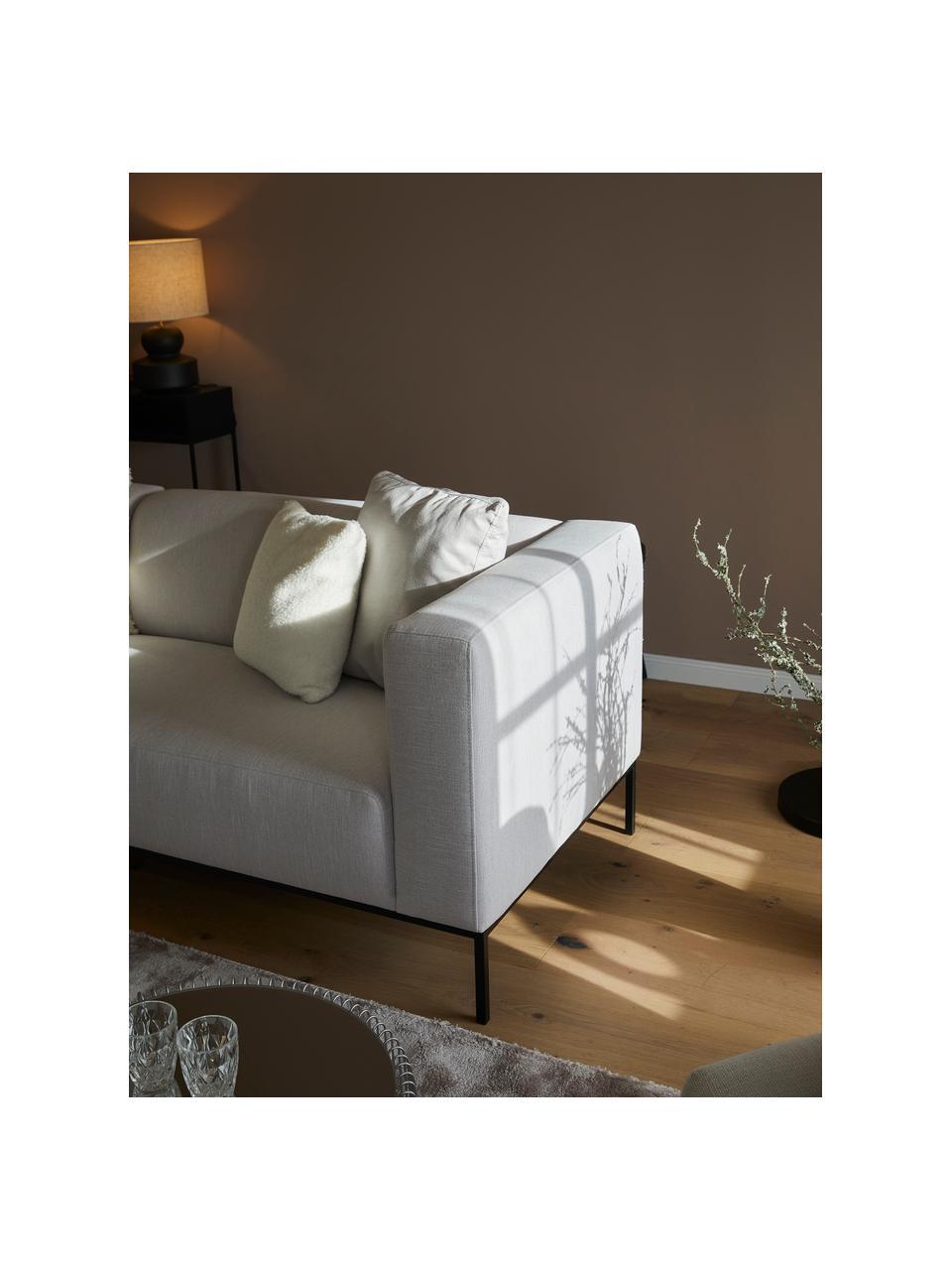 Sofa Carrie (3-Sitzer) in Grau mit Metall-Füßen, Bezug: Polyester 50.000 Scheuert, Gestell: Spanholz, Hartfaserplatte, Füße: Metall, lackiert, Webstoff Grau, B 202 x T 86 cm